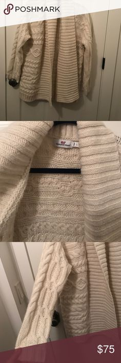 Vineyard Vines women's cable knit sweater Cream, thick knitted, open-front sweater. Good condition Vineyard Vines Sweaters Cardigans