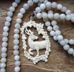 White Stag of Avalon, avalon prayer beads, avalon mala, avalon rosary, stag prayer beads, stag mala, stag rosary, goddess rosary, by MagickAlive on Etsy