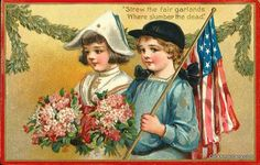 Vintage Victorian Memorial Day Postcard of Children with Flag and Flowers Vintage Cards, Vintage Paper, Vintage Postcards, Vintage Images, Vintage Ephemera, Memorial Day Decorations, Patriotic Decorations, American Card, American Flag