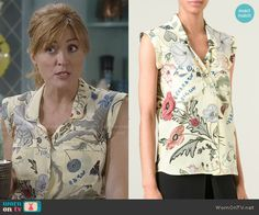 Maura's yellow floral sleeveless blouse on Rizzoli and Isles.  Outfit Details: http://wornontv.net/50918/ #RizzoliandIsles