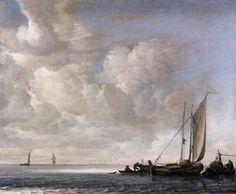 Calm Sea - Simon de VLIEGER,  1645-50 -  Oil on wood, 38 x 45 cm -  Metropolitan Museum of Art, New York