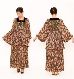 Floral 1960s Dress . Floral Poiret Silhouette .  by recollectvint, $350.00