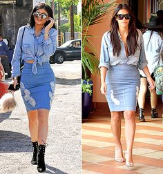 On Tuesday, March 31, Jenner, 17, ripped another page from Kardashian's style book by stepping out in a blue denim top with a tight matching skirt. She accessorized with black ankle booties and a black crossbody bag.
