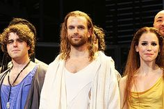Photo of After delivering emotional performances as Judas (Josh Young), Jesus (Paul Nolan) and Mary Magdalene (Chilina Kennedy), this trio of Broadway newcomers soaks in their opening night applause. Stratford Festival, Tim Rice, Next To Normal, Jesus Christ Superstar, Bonnie N Clyde, Mary Magdalene, Broadway Theatre, Opening Night, Les Miserables