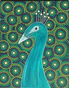 I love the colors in this piece! This peacock is painted in acrylics and is sure to be a focal point in your tropical decor. He would even go nicely in a kids room.