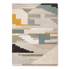 The Block Area Rug from Threshold uses an asymmetrical stair step pattern with various colors for maximum interest. This abstract area rug is a great way to protect your floors and warm up your room.
