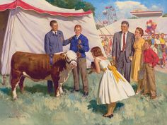 FFA Nostalgic Prints that is a herferd cow I kno I'm so smart Showing Livestock, Farmer's Daughter, Vintage Farm, County Fair, Ffa, Norman Rockwell, Farm Life, Country Girls, Agriculture