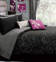 New Black Gray Silver Designs Comforter Bedding Set