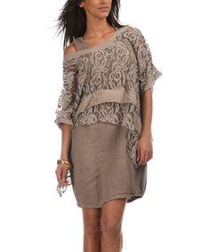 Look at this #zulilyfind! Taupe Sheer Caro Linen Top by Emma Jones #zulilyfinds