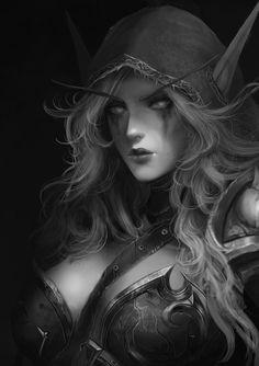 Lady Sylvana - world of warcraft art Fantasy Images, Fantasy Women, Dark Fantasy Art, Fantasy Girl, Fantasy Artwork, World Of Warcraft Characters, Fantasy Characters, Character Portraits, Character Art