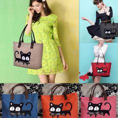New Cute Cat Design Big Ladies women Canvas Handbag Purse Shoulder Tote Bag