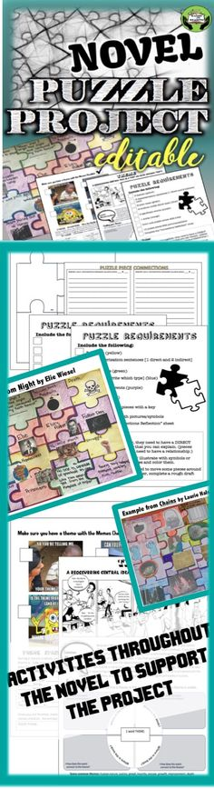 EXAMINE CONNECTIONS BETWEEN TEXTUAL ELEMENTS IN ANY NOVEL WITH THIS PUZZLE PROJECT. No Prep.- Just print and go. The requirements are also editable to fit the goals of any novel unit. Included in this project are also activities to support student understanding of the included elements of literature to examine how they interconnect to reinforce the author's message. $6.00