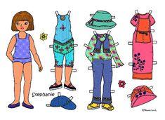 Karen`s Paper Dolls: Stephanie 1-3 Paper Doll in Colours. Stephanie 1-3 påklædningsdukke i farver.