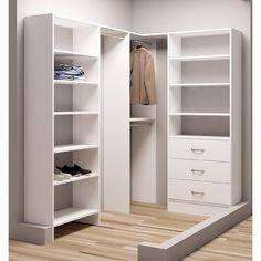 TidySquares Classic White Wood x 87 Corner Walk-in Closet Organizer (White) (Chrome) Corner Closet Organizer, Small Closet Organization, Walking Closet, Closet Bedroom, Closet Space, Bedroom Corner, Front Closet, Small Closets, Walk In Closet Small