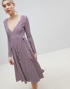 Boohoo | Boohoo Stripe Wrap Midi Dress