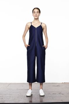 """It's Time To Start Building That """"Real Adult"""" Wardrobe #refinery29  http://www.refinery29.com/2016/07/116936/updownacross-new-clothing-brand#slide-4  With a jumpsuit like this, you can get dressed in the dark and still come out looking amazing.Updownacross Denim Tank Top Wide Leg Jumpsuit, $153, available at Updownacross...."""