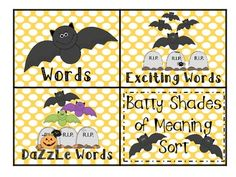 Batty Shades of Meaning Sort Second Grade Writing, 2nd Grade Ela, Shades Of Meaning, Figurative Language, Common Core Standards, Manners, Sorting, Literacy, Meant To Be