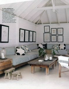 Perfect solution for Nahma Living Room Color Palette: Black, White, Blue, neutral wood tones