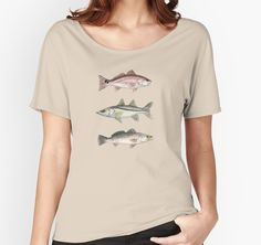 """""""Inshore Slam Watercolor"""" Women's Relaxed Fit T-Shirts by Amber Marine 