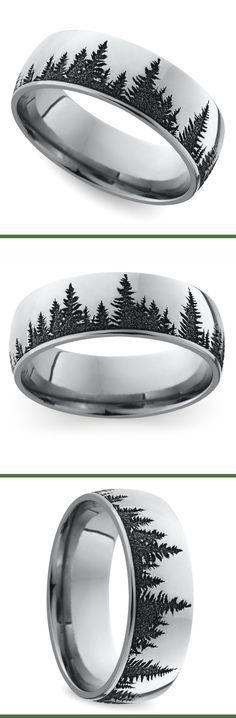 This domed 7 mm band features a serene pine forest pattern laser carved into cobalt for a unique look.