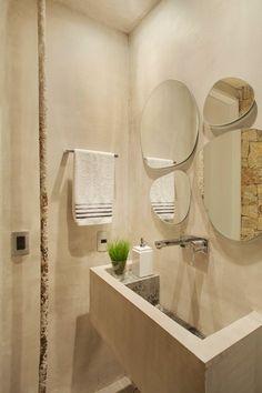 Concrete Ultra Modern Apartment In Rio de Janeiro Half Bath Decor, Small Half Baths, Chic Apartment Decor, Half Bathroom Remodel, Decoracion Vintage Chic, Small Bathroom, Guest Bathrooms, Bathroom Ideas, Restroom Ideas