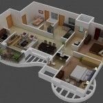 3D Small House Plans Trends with 3 Bedroom and Loft 2014