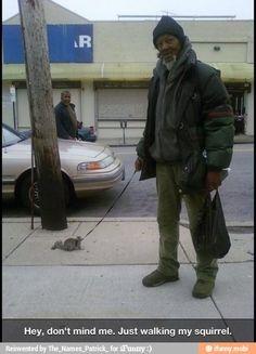 I'm just  walking my squirrel