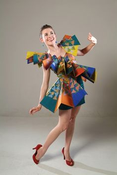 Exuberant by Rebecca Wendlandt.  Orgami girl.- From Wearable Art fashion show.