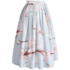 Chicwish Cherry Blossom Printed Midi Skirt (120 PEN) ❤ liked on Polyvore featuring skirts, bottoms, floral print midi skirt, flower print skirt, floral skirts, chicwish skirt and floral printed skirt