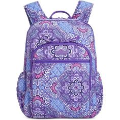Vera Bradley Campus Backpack ($108) ❤ liked on Polyvore featuring bags, backpacks, lilac trapestry, vera bradley backpack, lightweight rucksack, purple bags, purple backpack and backpack bags