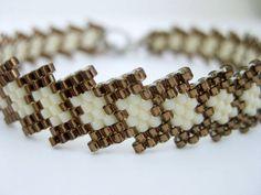 Bracelet Peyote perles de rocaille perles marron et crème