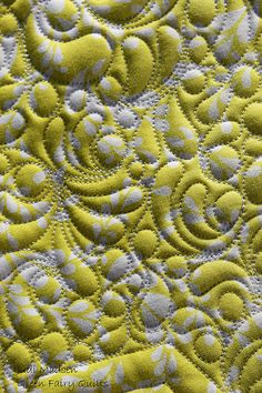 Free motion feather/circle quilting design.  Quilted by Judi Madsen of Green…