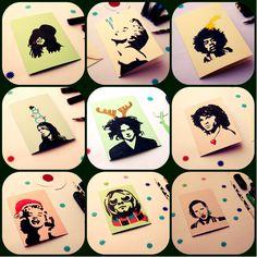 Christmas cards by Lady Lu / handmade / ruční kresba / vánoční přání. #christmas #card #vanoce #prani #paper #handmade #drawing #kresba #ladylu #ladyluart #ladyluartist #popular #hvezdy #rockstar #madonna #slash #jackwhite #morrison #grohl #cobain #marilyn