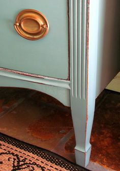 DIY: Dresser in 2 parts Aubusson & 1 part Duck Egg Blue Mix - painted, then distressed & waxed dresser. THAT easy!