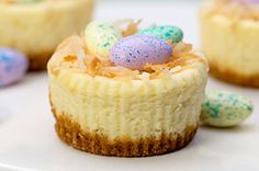 "A classic cheesecake made mini and Easter festive with speckled chocolate eggs in toasted coconut ""nests.""  Cute and delicious, this cheesecake recipe is sure to become a new Easter favourite!"