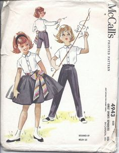50s Girls McCall's 4943 Helen Lee Sports Separates Skirt Pants & Blouse Sewing Pattern Size 6. $9.93, via Etsy.