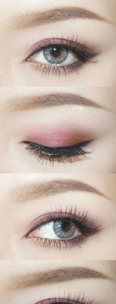 Pink eye makeup look; subtle winged eyeliner