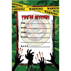 Free Printable Zombies Party Invitation Zombie Birthday Bash In