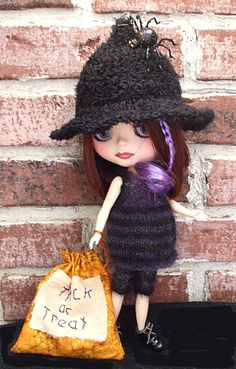 Blythe Knit Black and Purple Halloween Costume and by Wymzeeknit, $80.00