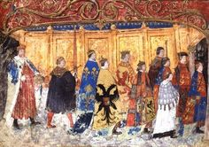 Here is a rarely seen image of Henry VIII's bastard son, Henry Fitzroy, in the Garter procession. He is on the far right while Henry VIII brings up the rear. Fitzroy's red hair can be seen beneath his...