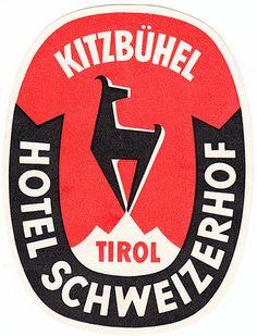 kitzbuehel hotel schweizerhof tirol vintage luggage label