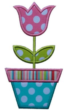 Tulip Applique Design Sizes include: 4x4 hoop5x7 hoop6x10 hoop *This design also comes with a zigzag finish in each size!!!!
