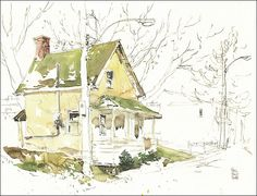 sketch house watercolor