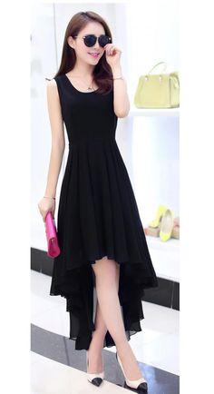 Casual Partywear Plain Black Georgette Kurti - Designer Kurti