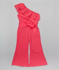 Look at this Hot Pink Asymmetrical Ruffle Jumpsuit - Infant, Toddler & Girls on #zulily today!