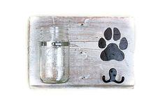 Handmade Dog Leash Holder with a Mason Jar Treat by BrandNewToMe