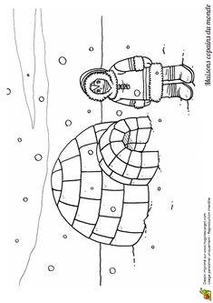 Coloriage / dessin igloo et esquimau Preschool Letters, Kindergarten Crafts, Preschool Crafts, Preschool Classroom, Preschool Ideas, Colouring Pages, Coloring Pages For Kids, Igloo Drawing, Igloo Craft