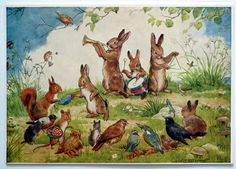 Very pretty postcard. A band of rabbits playing musical instruments watched by other animals and birds. Illustration by Margaret Tempest. Undated. The postcard has not been sent but there is a name on the reverse. Very slight wear to corners else very good. Margaret W Tarrant London The Medici Society Ltd