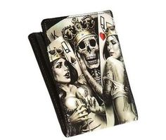 1735b962722 Og abel 2 of a kind tattoo artist skull skeleton love rocker punk bi fold  wallet
