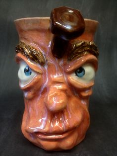 Face Mug, cone 6 with underglazes, clear glaze by Dave the Potter
